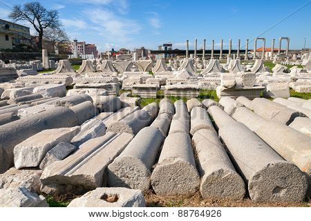 Ruined Ancient Columns. Smyrna. Izmir, Turkey
