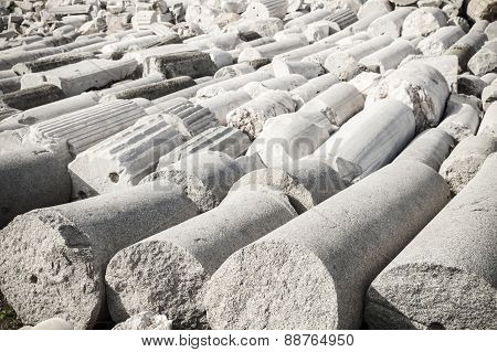A Lot Of White Ancient Columns Lay In Smyrna. Izmir, Turkey
