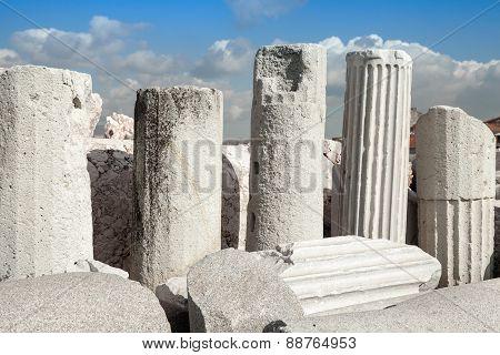 Ancient Columns In A Row. Izmir, Turkey