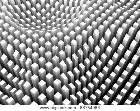 Abstract Digital Background, White Columns Area Array, 3D