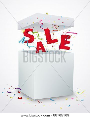 Sale message box with colorful confetti