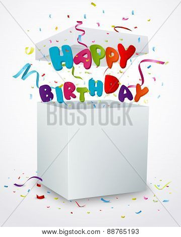Birthday message box with confetti