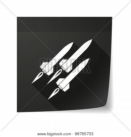 Sticky Note Icon With Missiles