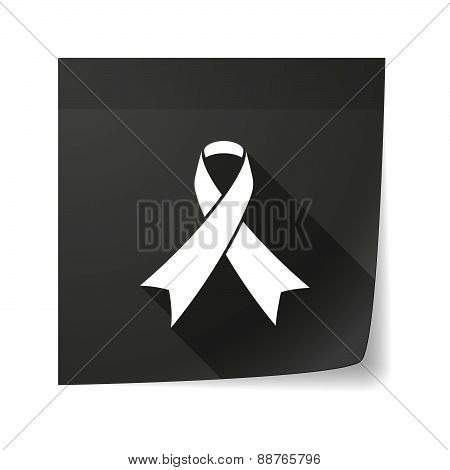 Sticky Note Icon With A Social Awareness Ribbon