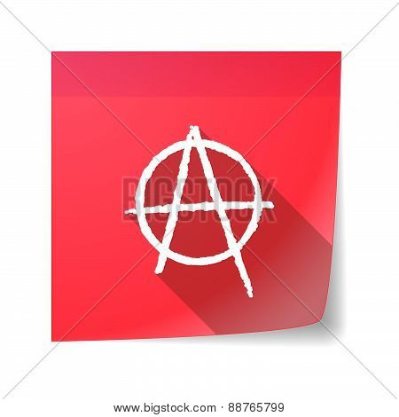 Sticky Note Icon With An Anarchy Sign