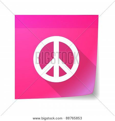 Sticky Note Icon With A Peace Sign