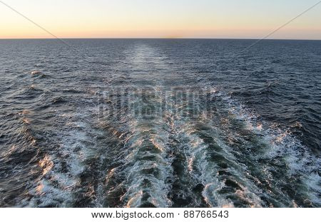 Trace Of The Ship On Baltic Sea.