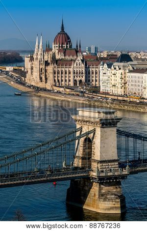 hungary, budapest. the chain bridge and parliament are the landmarks of the hungarian capital.