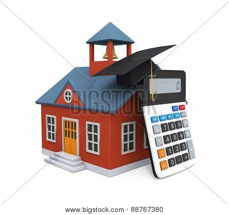 School Building Icon and Calculator