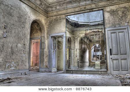 HDR photo of big mirror in derelict building