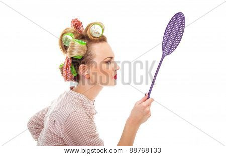 Funny Housewife / Girl With Fly Swatter, Isolated On White. Close-up From Side / Profile
