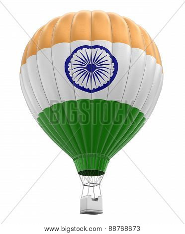 Hot Air Balloon with Indian Flag (clipping path included)