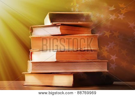 Books on lights background