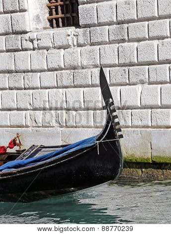 Detail Of The Prow Of The Gondola In Venice