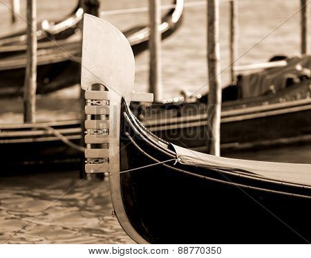 Detail Of The Prow Of The Gondola In Venice In Italy