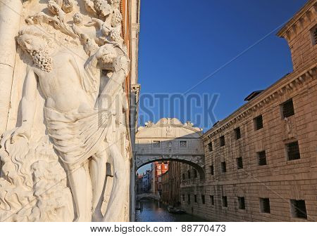 Bridge Of Sighs In Venice In Italy With A Statue