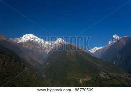 Annapurna South, View In A Full Day - Himalaya Mountains, Nepal