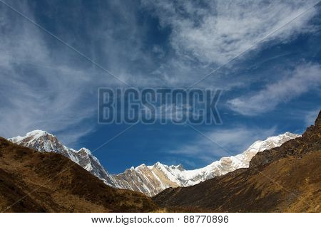Annapurna South Peack In The Nepal Himalaya - View From Annapurna Base Camp. Annapurna Is A Sanskrit
