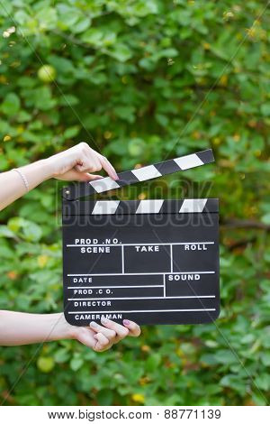 Movie production clapper board
