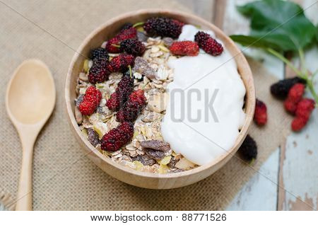 Breakfast : Home Made Yogurt With Oat Flakes  In Bowl On Wooden Table
