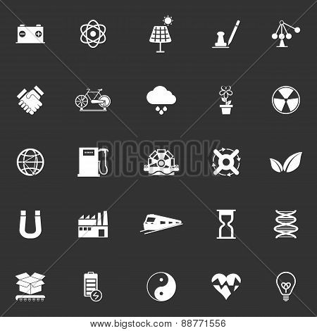 Renewable Energy Icons On Gray Background