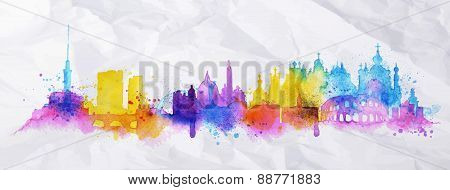 Silhouette overlay city Kiev Rome