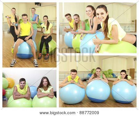 Collage of photos with young people training with gymnastic ball in gym