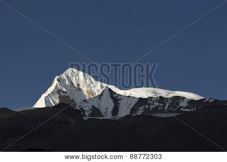 View Of Annapurna South From Annapurna Base Camp Himalaya Mountains In Nepal At Sunrise