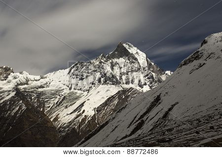 View Of Machhapuchchhre Mountain At Night - Fish Tail In English Is A Mountain In The Annapurna Hima