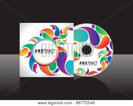 Abstract Artistic Rainbow Floral Cd Cover Template