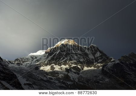 View Of Annapurna I From Annapurna Base Camp Himalaya Mountains In Nepal