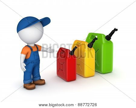 Colorful gasoline jerrycans and 3d small person.