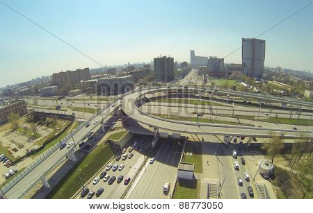 MOSCOW, RUSSIA - APRIL 20, 2014: Cityscape with car traffic on a road junction on the Third Ring Road, aerial view