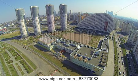 MOSCOW, RUSSIA - APRIL 20, 2014: Educational center near residential complex Parus at spring sunny day, aerial view