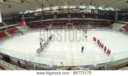 MOSCOW, RUSSIA - APRIL 26, 2014: Two children hockey teams are facing each other before the start of the game at the Ice Palace of Sports Sokolniki, aerial view