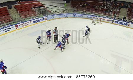 MOSCOW, RUSSIA - APR 26, 2014: Teams of children playing hockey at the Ice Palace of Sports Sokolniki, aerial view