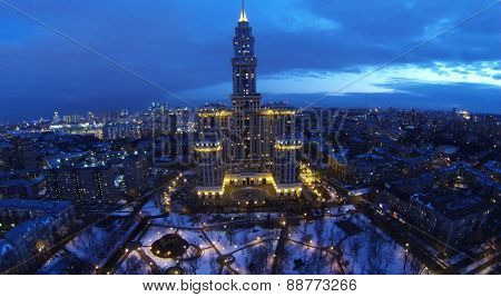 MOSCOW, RUSSIA - APRIL 02, 2014: Cityscape with residential complex Triumph Palace at evening, aerial view. Triumph Palace is tallest living building in Europe, its height is 264,5 meters