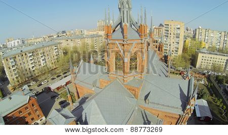 MOSCOW, RUSSIA - APRIL 20, 2014: Top part of catholic cathedral of Immaculate Conception of Blessed Virgin Mary, aerial view. Cathedral was opened in 1911