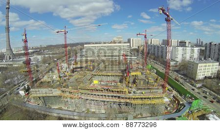 MOSCOW, RUSSIA - APRIL 05, 2014: Construction site of NTV company telecentre near Ostankinskaya TV tower at spring sunny day, aerial view