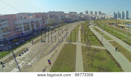 MOSCOW, RUSSIA - APRIL 20, 2014: Cityscape with alley of Pilots Heroes at Hodynskoe field at spring sunny day, aerial view