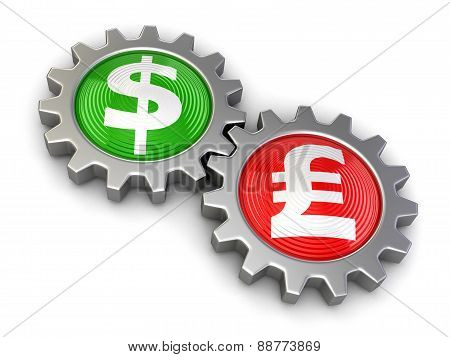 Gears with Dollar and Pound (clipping path included)