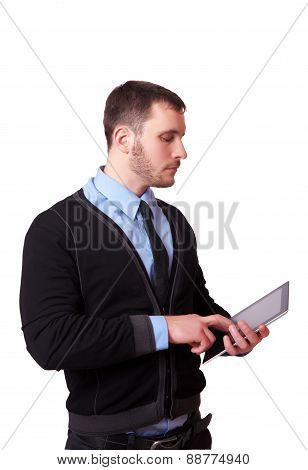 Businessman With Digital Table