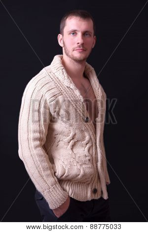 Portrait Of A Beautiful Young Man In Sweater