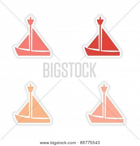 assembly realistic sticker design on paper sailing boat