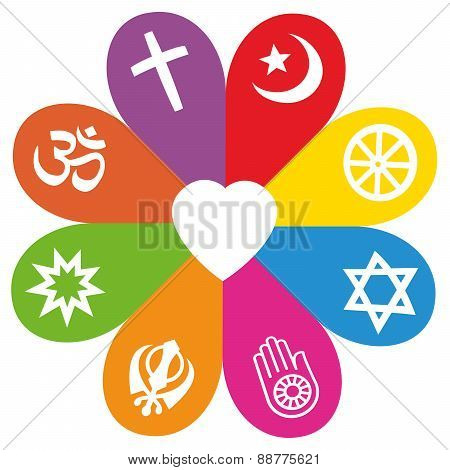 Religion Symbols Flower Love Colors Poster Id88775621