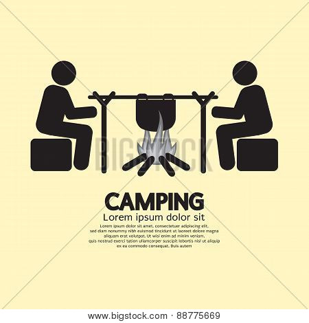 People With Campfire Camping Symbol.