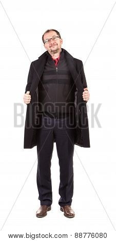 Man in opened black coat