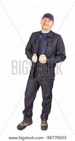 Worker in opened winter workwear