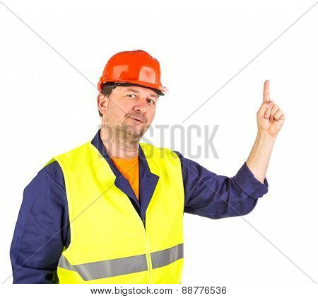 Worker in hard hat and yellow vest