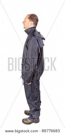 Worker in black workwear